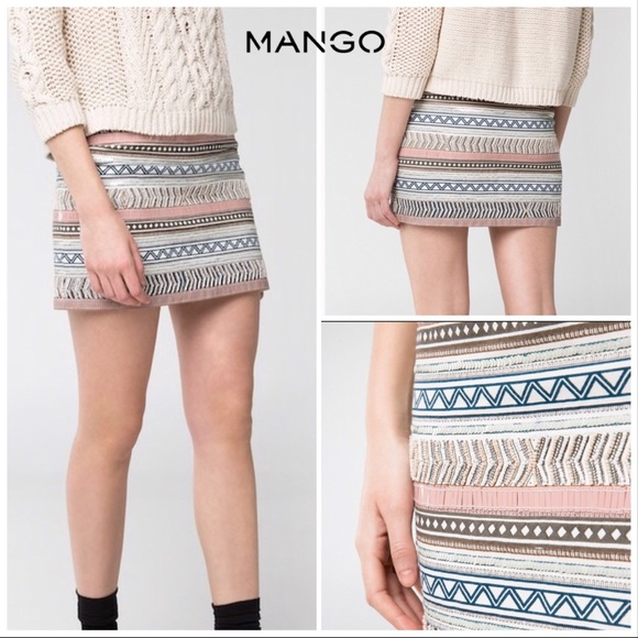 fc77d8db91 MNG Mango Beaded Sequined Geo Tribal Mini Skirt 4.  M 5b8eff8974359b59cb266058